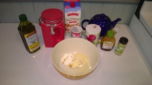 Mixing the cornbread topping