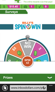 Billy's Spin & Win:  I haven't spun yet.