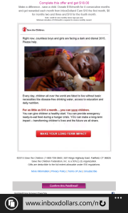 Confirming the email gets you 2 cents, but donating to this worthy cause adds more to your Inbox Dollars.