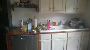 My teeny-tiny amount of work space in my soon-to-be-renovated kitchen, DURING a recipe.