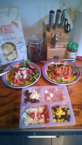The chips, the salsa, the salads, the toddler version... Ready to eat!