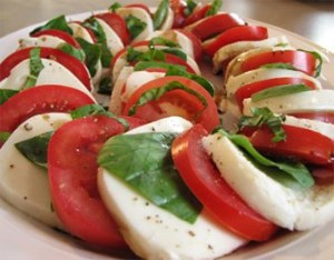 A stock photo of a beautifully-presented caprese salad I found via Google Images.