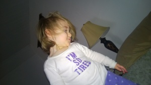 No, no she's not. This pic from December is my gorgeous, energetic child AFTER BED TIME.