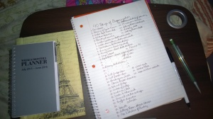 Situated:  getting my notebooks, calendar, and pen ready to get my mind ready to get my house ready!