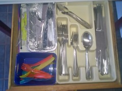 Nicely Organized Silverware Drawer (pieces purchased for dirt-cheap at Aldi's)