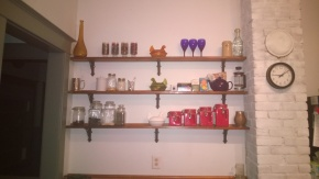 MY NEW SHELVES! They're so pretty! He cut, I stained & varnished, he hung, I decorated: Team Work!